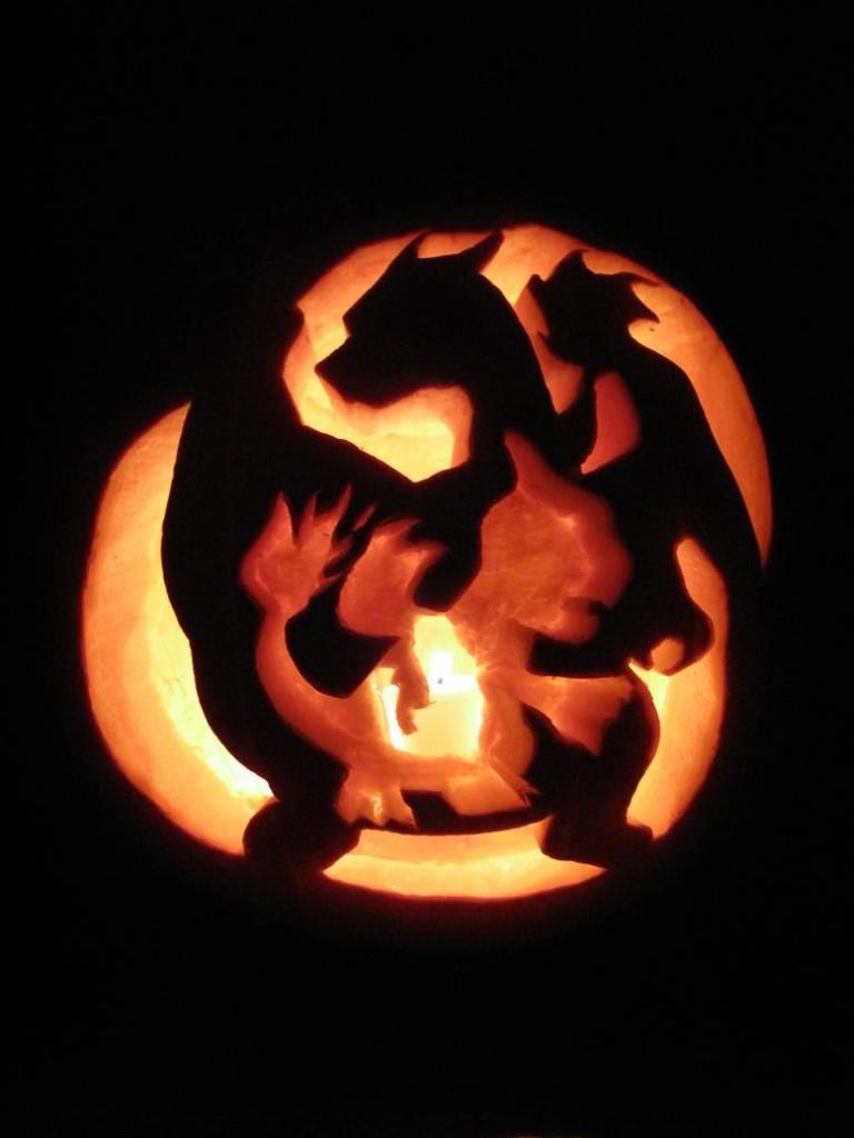Charmander 39 s evolution pumpkin carving for Pokemon jack o lantern template